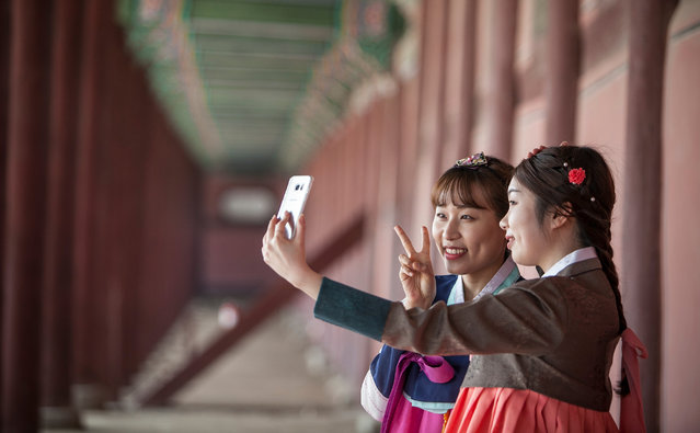 Young Koreans wearing hanbok (Korean traditional dress) take a sefie inside Gyeongbok Palace on March 27, 2016 in Seoul, South Korea. There has been a trend in recent years for the young Koreans to wear the traditional Korean dress, Hanbok. Wearing the traditional dress, they will walk around downtown Seoul on weekends taking selfies, and share their memories with friends on social media, and also to promote their traditional dress to foreign visitors. (Photo by Jean Chung/Getty Images)
