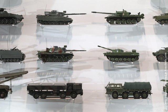 Models of Cold War-era Allied (L) and Soviet Bloc weaponry