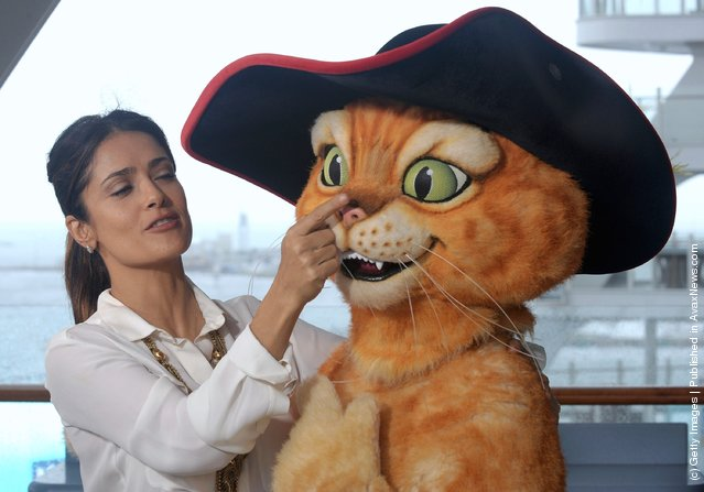 Salma Hayek attend premiere of Puss In Boots