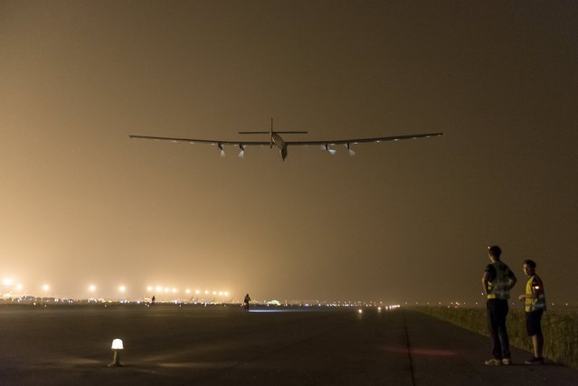Solar Impulse 2 -a solar powered plane- takes off in Nanjing, China May 31, 2015. The world's largest solar-powered airplane, Solar Impulse 2, took off from eastern China's Nanjing on Sunday to continue its round-the-world voyage. The Swiss-made plane left Nanjing's Lukou International Airport at 2:39 in the early morning, with former fighter pilot Andre Borschberg at the controls alone for the entire 8,200-kilometer flight from Nanjing to Hawaii, the toughest leg of its marathon adventure.   REUTERS/Solar Impulse/Handout via Reuters