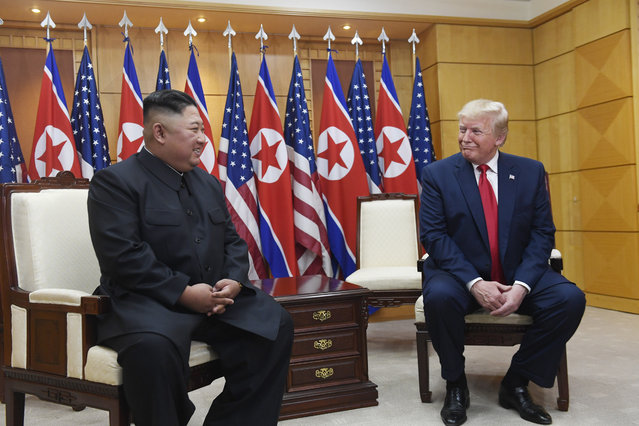 President Donald Trump meets with North Korean leader Kim Jong Un at the border village of Panmunjom in the Demilitarized Zone, South Korea, Sunday, June 30, 2019. (Photo by Susan Walsh/AP Photo)