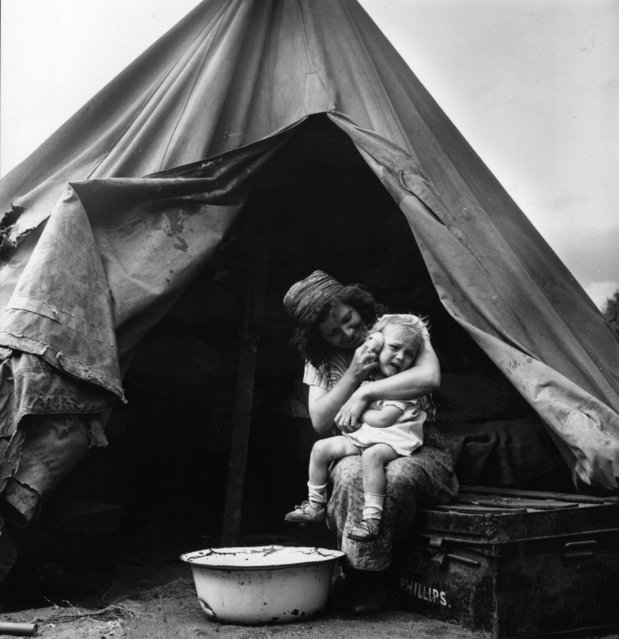 A mother washes her child at a gypsy camp in Corke's Meadow, Kent, July 28, 1951. (Photo by Bert Hardy/Getty Images)