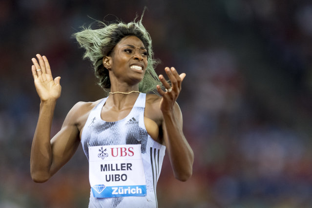 Shaunae Miller-Uibo from the Bahamas reacts after winning the women's 200m race, during the Weltklasse IAAF Diamond League international athletics meeting in the stadium Letzigrund in Zurich, Switzerland, Thursday, August 29, 2019. (Photo by Ennio Leanza/Keystone via AP Photo)