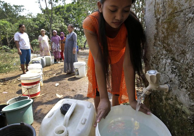 Indonesian women queue up to collect clean water from a public well in Tangerang, Indonesia, Wednesday, July 29, 2015. Several areas on the densely populated island of Java have been hit by drought during this dry season, forcing villagers to walk long distances to find clean water. (Photo by Tatan Syuflana/AP Photo)