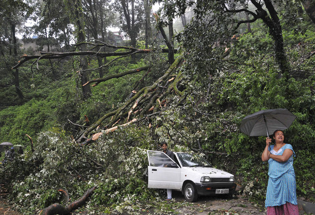A woman (R) stands near a car which was damaged by a tree that fell after heavy rains and strong winds in the northern Indian hill town of Shimla July 2, 2014. Monsoon rains have revived in central and northern parts of India known for soybean and sugarcane cultivation, a government official said on Wednesday, but warned the country is still expected to have below-average monsoon this year. (Photo by Reuters/Stringer)
