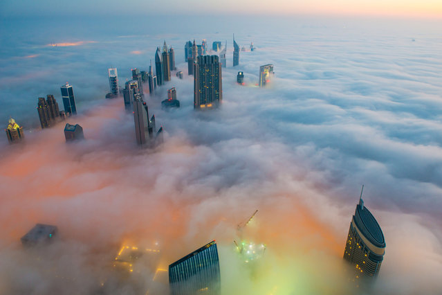 This breathtaking view from the world's tallest building shows a thick blanket of smoggy fog smother Dubai. The mist almost completely covers the huge sculptures which dominate the skyline. And the spectacular view from the Burj Khalifa – standing at a staggering 828 metres tall – shows the city engulfed by the thick fog. And the smoggy fog reaches heights of up to 400 metres as it rises above the impressive skyscrapers in Dubai. (Photo by Bjoern Lauen/Solent News/SIPA Press)