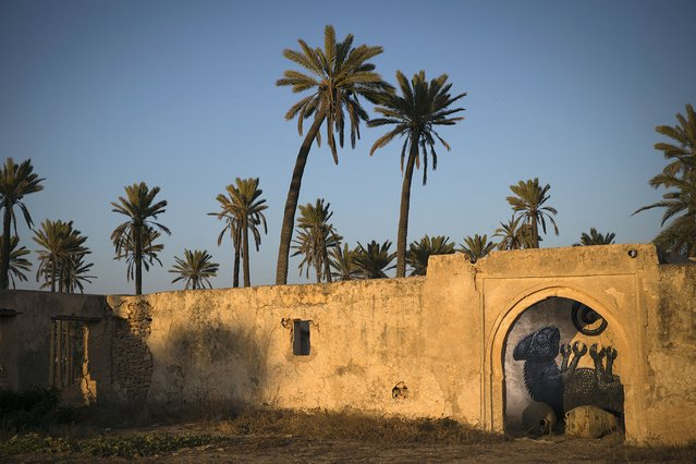 """A mural by Belgian artist ROA decorates a wall in the surrounding area of the village of Erriadh, on the Tunisian island of Djerba, on August 7, 2014, as part of the artistic project """"Djerbahood"""". (Photo by Joel Saget/AFP Photo)"""