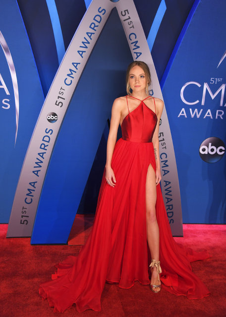 Danielle Bradbery pose in the press room at the 51st annual CMA Awards at the Bridgestone Arena on Wednesday, November 8, 2017, in Nashville, Tennessee. (Photo by Harrison McClary/Reuters)