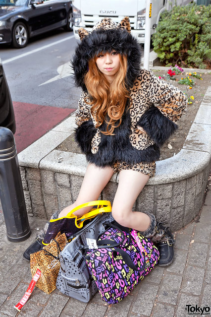Shibuya Leopard. Snapped this cool girl while out shooting Shibuya's famous New Year's fukubukuro sale. (Tokyo Fashion)