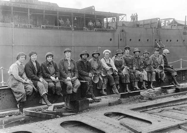 """Women Rivet Heaters and Passers on"". Puget Sound Navy Yard, Washington, May 29, 1919. (Photo by an unknown photographer)"