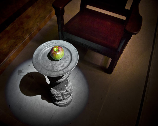 """""""Temptation"""", part of an installation from the artist-duo David Burns and Austin Young, appears among the works of 30 artists in the multimedia exhibition """"The Value of Food: Sustaining a Green Planet"""" at the Cathedral of St. John the Divine, Wednesday, October 7, 2015, in New York.  (Photo by Bebeto Matthews/AP Photo)"""