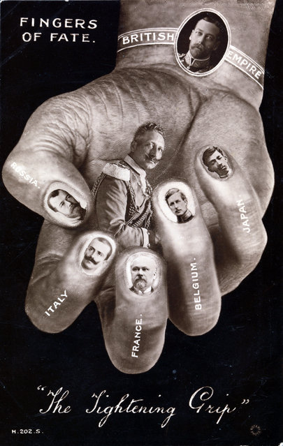"""Fingers of Fate – The Tightening Grip"" by Unknown, ca. 1916. During World War I, European postcard publishers used photomontage to fan the flames of patriotism on both sides of the conflict. (Photo courtesy of The Metropolitan Museum of Art)"