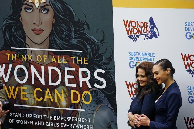 Actors Gal Gadot and Lynda Carter pose for photos during an event to name Wonder Woman UN Honorary Ambassador for the Empowerment of Women and Girls at the United Nations Headquarters in the Manhattan borough of New York, New York, U.S., October 21, 2016. (Photo by Carlo Allegri/Reuters)