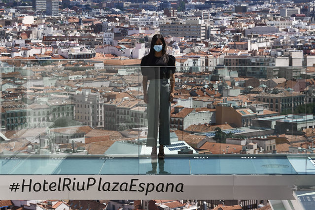 The Vice-Mayor of Madrid Begoña Villacis attends the reopening of Riu Plaza España Hotel after it had been closed for three months due to the coronavirus outbreak on June 15, 2020 in Madrid, Spain. Spain has largely ended the lockdown it imposed to curb the spread of Covid-19, which caused the death of more than 27,000 people across the country. This week all regions are on Phase Two or Three, one month after all of Spain started on Phase zero on May 4, 2020. (Photo by Carlos Alvarez/Getty Images)