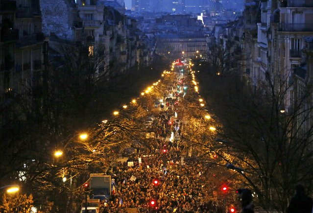 A general view shows hundreds of thousands of French citizens taking part in a solidarity march (Marche Republicaine) in the streets of Paris January 11, 2015. (Photo by Eric Gaillard/Reuters)