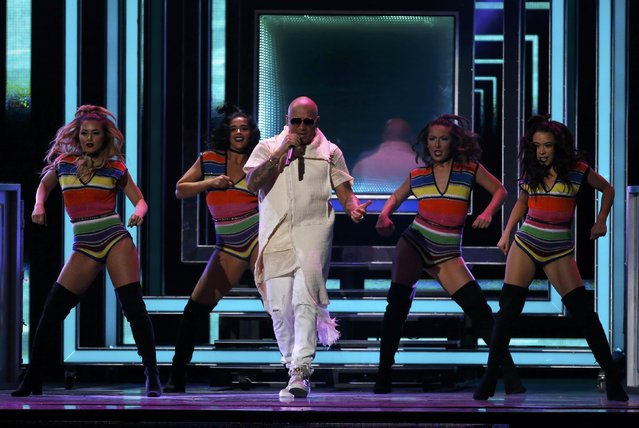 """Wisin performs """"Vacaciones"""" at the 17th Annual Latin Grammy Awards in Las Vegas, Nevada, U.S., November 17, 2016. (Photo by Mario Anzuoni/Reuters)"""