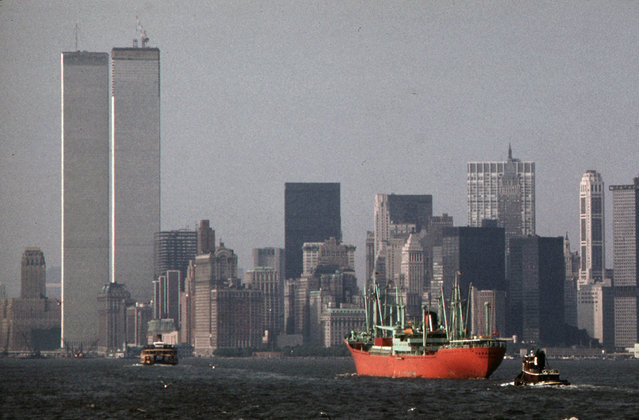 The World Trade Center stands above lower Hudson River shipping activity, seen from the Staten Island Ferry, in May of 1973. (Photo by Wil Blanche/NARA via The Atlantic)