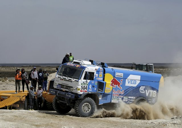 Russia's Andrey Karginov drives his Kamaz truck during the Dakar Rally 2016 in Chulluquiani, Oruro Department, Bolivia, January 8, 2016. (Photo by David Mercado/Reuters)