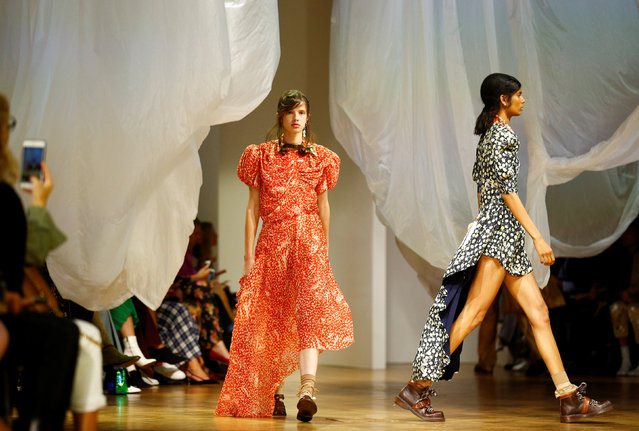 Models present creations at the Preen by Thornton Bregazzi catwalk show at London Fashion Week Women's in London, Britain September 16, 2018. (Photo by Henry Nicholls/Reuters)