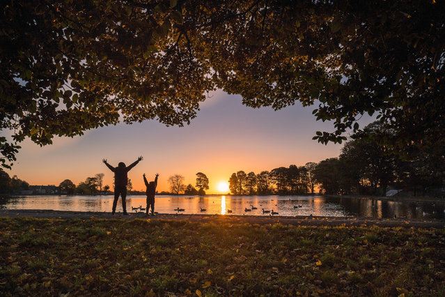 An autumn sunrise at Harold Park in Bradford, Yorkshire, UK on October 22, 2018. (Photo by David Zdanowicz/Rex Features/Shutterstock)