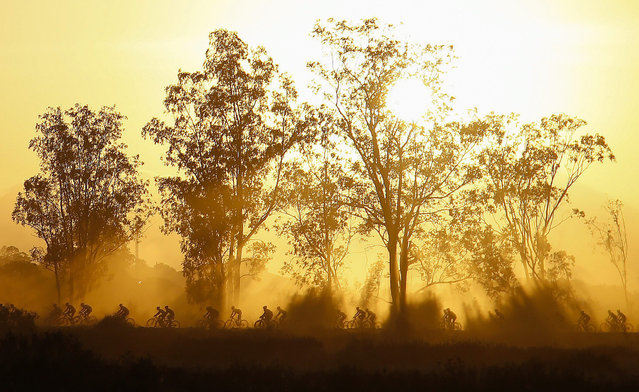 Cyclists competes during the 111 kilometer stage four of the Absa Cape Epic mountain bike team stage race in Worcester, South Africa, 19 March 2015. The Absa Cape Epic is considered one of the toughest mountain bike races in the world. The multi stage race sees 1200 cyclists riding in pairs over 700km and climbing more than 16000 meters, twice the high of Mount Everest over 8 days of racing. (Photo by Nic Bothma/EPA)