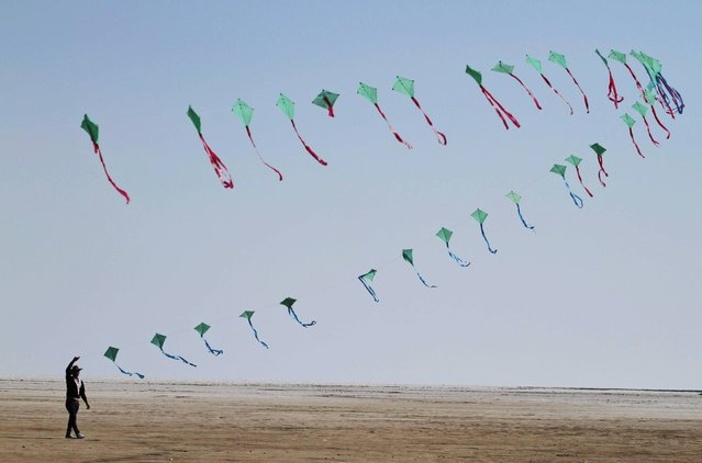 An Indian participant flies a train of kites at the International Kite Festival at white sand in the Rann of Kutch, a seasonal salt marsh located in the Thar Desert, in Dhordo, about 500 kilometers (311 miles) from Ahmadabad, India, Friday, January 10, 2014. The International Kite Festival has become a highly popular and successful event and is part of the Gujarat state Tourism's strategy to develop fairs and festival to showcase and promote the culture and tourism offerings of the state. (Photo by Ajit Solanki/AP Photo)