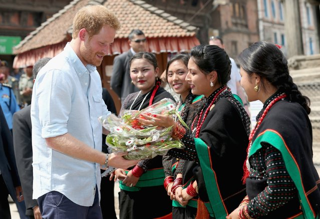 Prince Harry arrives at Katmandu's Durbar Square on day two of his visit to Nepal  on March 19, 2016 in Kathmandu, Nepal. Prince Harry is on a five day visit to Nepal, his first official tour of the country. (Photo by Chris Jackson/Getty Images)