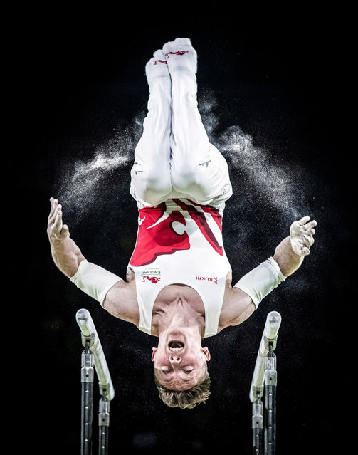 England's Nile Wilson wins silver on the men's parallel bars during the 2018 Commonwealth Games in the Gold Coast, Australia. (Photo by Danny Lawson/PA Wire)