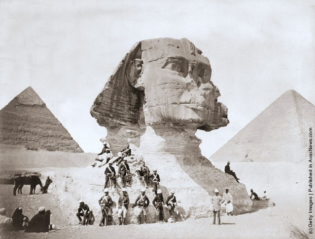 English troops take time out after the bombardment of Alexandria to visit the pyramids and the Sphinx, 1882