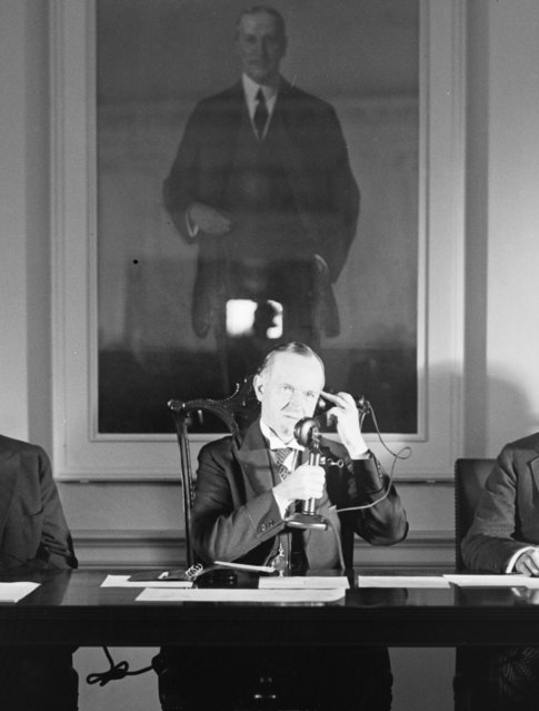 President Calvin Coolidge speaks on the telephone in 1928. John Calvin Coolidge, Jr was 30th U.S President serving from 1923 – 1929. (Photo by Harris & Ewing Collection/Library of Congress)