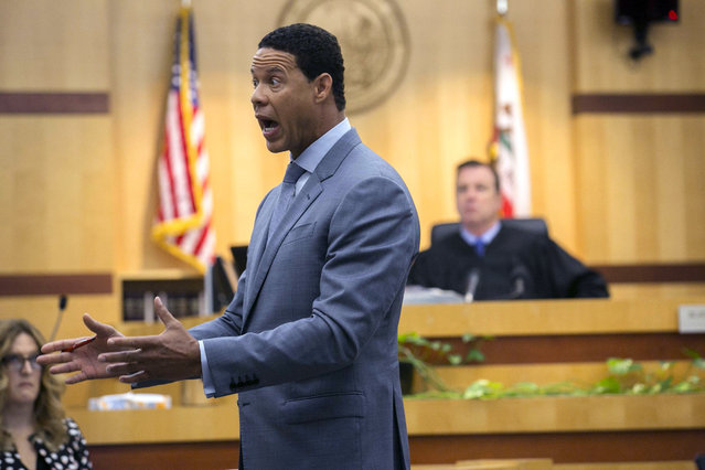 Brian Watkins, an attorney for former NFL football player Kellen Winslow Jr., gives his opening statement to the jury during Winslow's rape trial, Monday, May 20, 2019, in Vista, Calif. (Photo by John Gibbins/The San Diego Union-Tribune via AP Photo/Pool)
