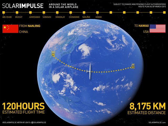 An undated handout image shows the flight path of the Solar Impulse 2 -a solar powered plane- for its journey from Nanjing, China, to Hawaii. The world's largest solar-powered airplane, Solar Impulse 2, took off from eastern China's Nanjing on Sunday to continue its round-the-world voyage. The Swiss-made plane left Nanjing's Lukou International Airport at 2:39 in the early morning, with former fighter pilot Andre Borschberg at the controls alone for the entire 8,200-kilometer flight from Nanjing to Hawaii, the toughest leg of its marathon adventure.   REUTERS/Solar Impulse/Handout via Reuters