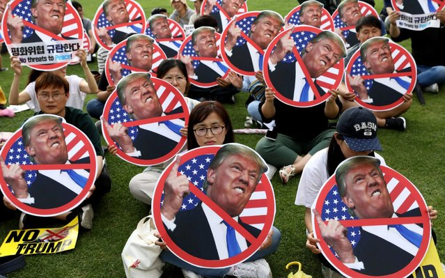 South Korean protesters participate in a rally to oppose a planned visit by U.S. President Donald Trump near the U.S. embassy on June 29, 2019 in Seoul, South Korea. Donald Trump is scheduled to be in South Korea for two days on June 29 – 30. (Photo by Chung Sung-Jun/Getty Images)