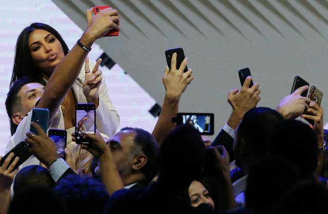 US reality television star Kim Kardashian poses for a selfie in Yerevan on October 7, 2019. The US reality television star Kim Kardashian on October 7, 2019 baptised her children during a visit to her ancestral homeland Armenia. The visit was the star's first to the Caucasus nation since a 2015 trip marking the centenary of the Armenian genocide that saw her husband give a chaotic, impromptu concert in capital Yerevan. (Photo by Vahram Baghdasaryan/Reuters/Photolure)