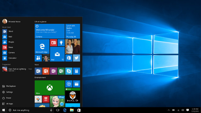 This screen shot provided by Microsoft shows the Start page in Windows 10. With Windows 10, the start button functions the way it did with Windows 7 and earlier. The graphical start page from Windows 8 is embedded in that start button, so that it feels modern without chucking old habits. (Photo by Microsoft via AP Photo)