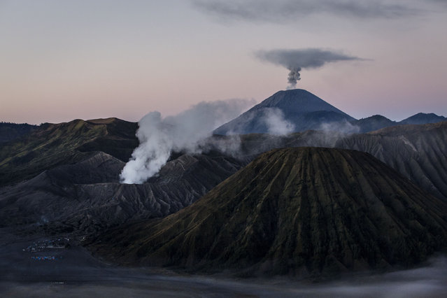 General view of the Bromo Tengger Semeru National Park, the location of the Tenggerese villages where the Tenggerese Hindu Yadnya Kasada Festival is held on July 31, 2015 in Probolinggo, East Java, Indonesia. (Photo by Ulet Ifansasti/Getty Images)