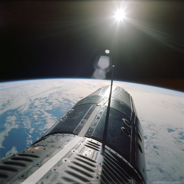 Backdropped over the Pacific Ocean, the nose of the Gemini spacecraft is seen, as photographed by astronaut Eugene A. Cernan, pilot of the Gemini-9A spaceflight, on 5 June 1966. Cernan, who was performing the second spacewalk in NASA history, snapped the picture with a 70mm handheld camera. (Photo by NASA)