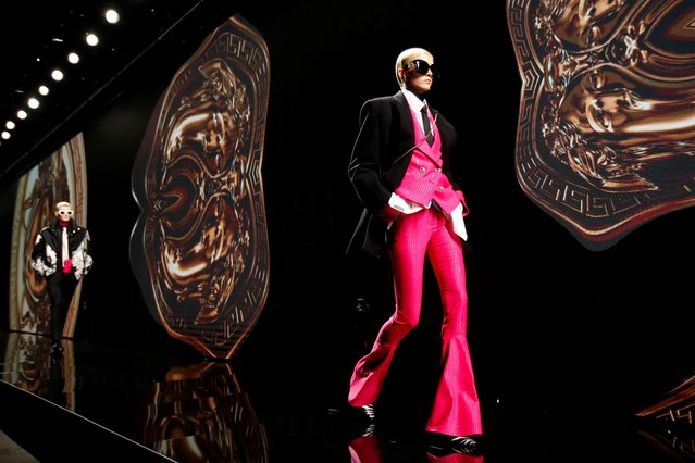 A model presents a creation from the Versace Autumn/Winter 2020 collection during the Milan Fashion Week in Milan, Italy, February 21, 2020. (Photo by Alessandro Garofalo/Reuters)