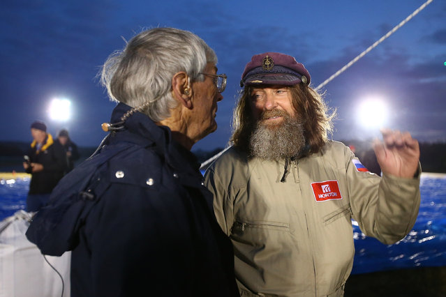 Australian explorer Dick Smith and Fedor Konyukhov talk before lift off from the Northam Aero Club on July 12, 2016 in Northam, Australia. (Photo by Paul Kane/Getty Images)