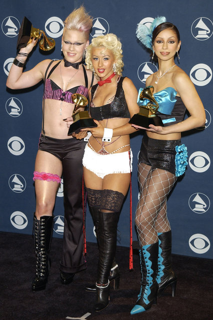 Pink, Christina Aguilera & Mya during 44th GRAMMY Awards – Press Room at The Staples Center in Los Angeles, California, United States on 27 February, 2002. (Photo by K. Mazur/WireImage)