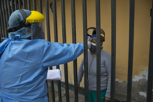 Doctor Jose Pimentel measures the temperature of Cristina Fernandez Quispe, 64, during a house-to-house coronavirus testing drive in Villa el Salvador, on the outskirts of Lima, Peru, Tuesday, June 30, 2020. (Photo by Rodrigo Abd/AP Photo)