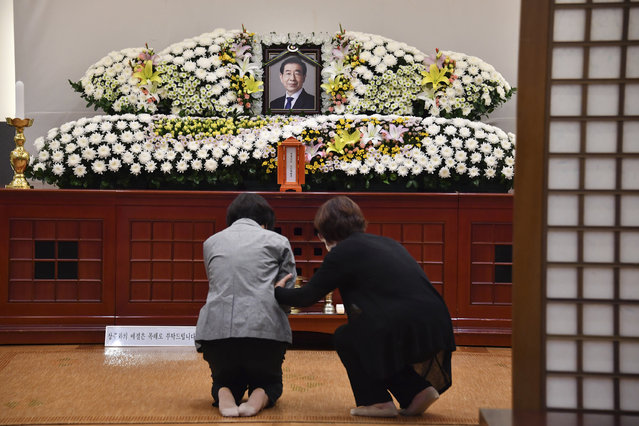 """In this photo provided by Seoul Metropolitan Government, a portrait of the deceased Seoul Mayor Park Won-soon is placed at a hospital in Seoul, South Korea, Friday, July 10, 2020. Seoul's mayor left a note saying he felt """"sorry to all people"""" before he was found dead early Friday, officials in the South Korean capital said as people began mourning the liberal legal activist seen as a potential presidential candidate. (Photo by Seoul Metropolitan Government via AP Photo)"""