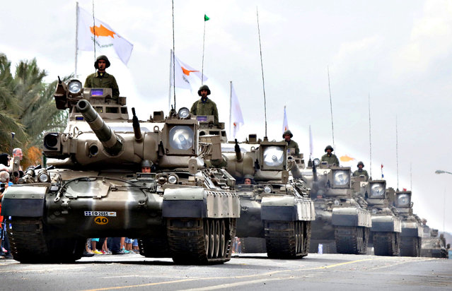 A column of tanks takes part in a military parade as part of the celebrations marking the 55th anniversary of the Republic of Cyprus in the presence of the President of the Republic Nicos Anastasiades and other high ranking government officials, in Nicosia, Cyprus, 01 October 2015. (Photo by Katia Christodoulou/EPA)
