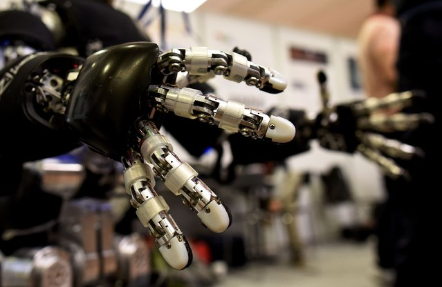 Hands of the iCub robot made by the Italian Institute of Technology are pictured at the scientists congress IROS 2015 in Hamburg, Germany October 2, 2015. (Photo by Fabian Bimmer/Reuters)
