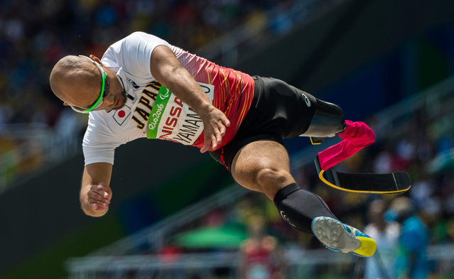Atsushi Yamamoto of Japan jumps in his fourth attempt in the men's T42 long jump final at the Paralympics at the Olympic Stadium in Rio de Janeiro on Sept. 17, 2016. Yamamoto won the silver with a record of 6.62 meters. (Photo by Simon Bruty/OIS/IOC)