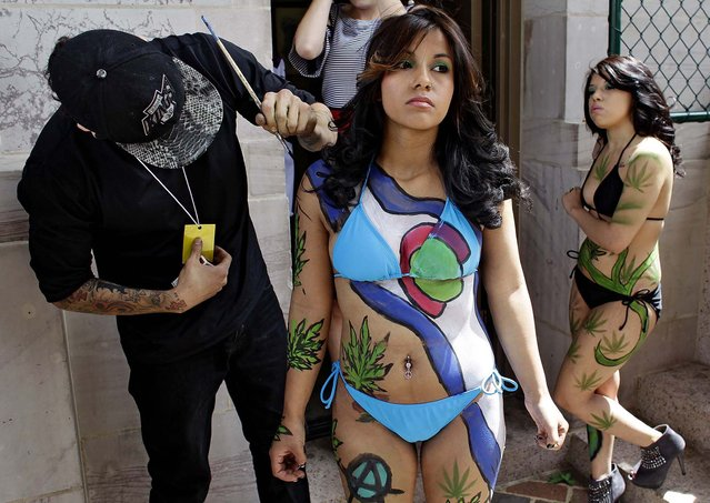 Tattoo artist Robert Duran touches up performer Ashley Lucero with a marijuana-themed body paint design, as Vanessa Pacheco looks on at right, at the Denver 4/20 pro-marijuana rally at Civic Center Park in Denver on Saturday, April 20, 2013. Even before the passage in November 2012 of Colorado Amendment 64 promised the legalization of marijuana for recreational use, April 20th has for years been a celebration of marijuana counterculture, with the 2013 Denver rally expected to draw larger crowds than previous years. (Photo by Brennan Linsley/AP Photo)
