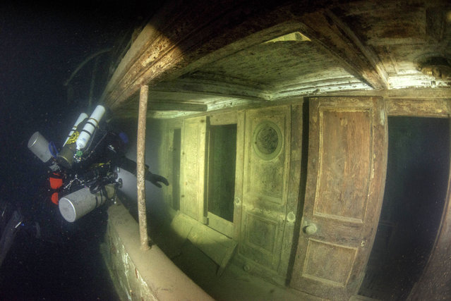 """Schott, 35, said: """"Visiting it was really like going back in time and it had a very haunting feel to it"""". (Photo by Becky Kagan Schott/Caters News Agency)"""