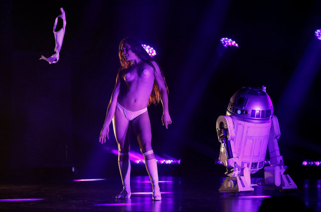 "A performer dances during ""The Empire Strips Back: A Star Wars Burlesque Parody"" in Los Angeles, California, U.S., June 1, 2018. (Photo by Mario Anzuoni/Reuters)"