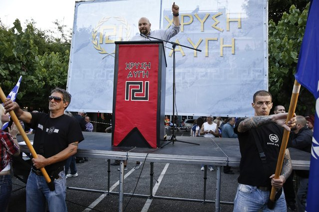 Lawmaker of the far-right Golden Dawn party Ilias Panagiotaros delivers a speech during a pre-election rally in Athens in this May 23, 2014 file picture. (Photo by Yorgos Karahalis/Reuters)