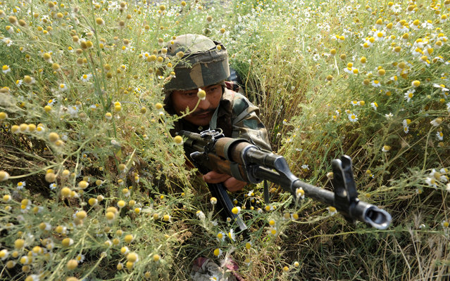 An Indian army soldier takes position at the scene of a deadly attack by armed rebels on the outskirts of Srinagar on June 24, 2013. Four soldiers were killed and six others were wounded in an attack on a convoy in Indian Kashmir on the eve of a visit by Prime Minister Manmohan Singh, the army said. (Photo by Rouf Bhat/AFP Photo)